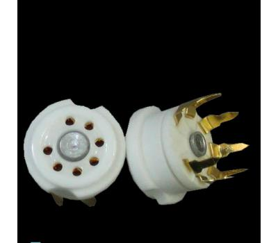 Ceramic Miniature 7-Pin Gold Plated PCB Mount Tube Socket