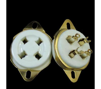 Ceramic 4-Pin Gold Plated Tube Socket
