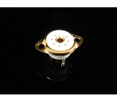 Ceramic Miniature 7-Pin Gold Plated Tube Socket with Ring